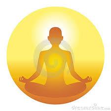 homme en méditation de kundalinî yoga mains en gyan dans bulle jaune