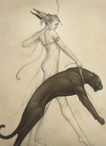 femme-domptant-panthere-noire